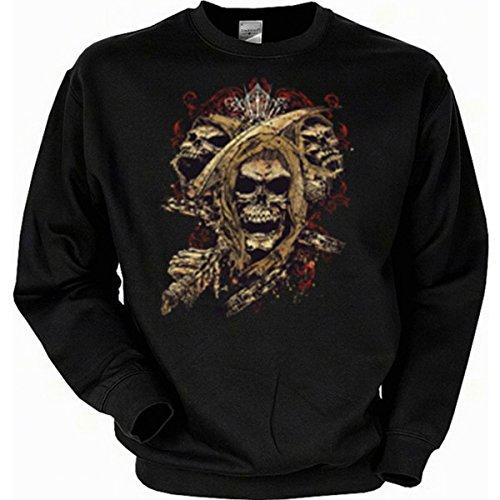 Muster Wolf Kostüm Max - edel Dark fantasy Totenkopf Skull Sweatshirt Gr M in schwarz