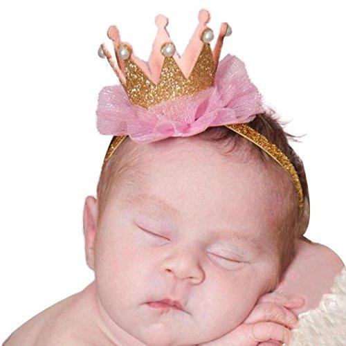 Culater Baby Blume Krone Elastisch Prinzessin Haarband (Gold)