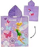 Unbekannt Badeponcho -  Disney Fairies - Tinkerbell  - incl. Name - 60 cm * 120 cm - 4 bis 8 Jahre Poncho - mit Kapuze - Handtuch Strandtuch - 100 % Baumwolle - Mädch..