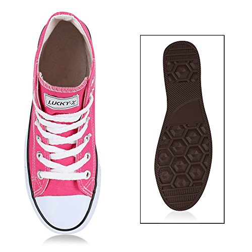 Sportliche Damen Sneakers |Stoffschuhe Camouflage Schnürer | Sneaker High Neon | Sportschuhe Neonpink
