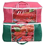 #9: Yellow Weaves™ Underbed Storage Bag, Storage Organiser, Blanket Cover with designer handles, Set of 2 Pcs - Pink & Green Color - (Extra Large Size)
