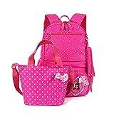 CUILEE Conjunto de 3 Polka Dot Lindo Las Mochilas Escolares Universidad/Bolsas Escolares/Mochila niños niñas Adolescentes + Bolsa de Mano + Bolsa de lápiz,Rosa Roja