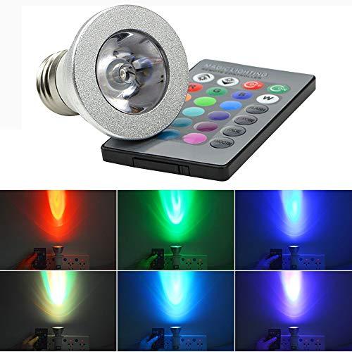 E27 3W RGB LED Glühbirne - Standard-Schraube Basis 16 Farben Dimmbar - mit IR-Fernbedienung -leuchten Halloween Tanz Rave Party Fun, Party Oder Hip-Pop-Tanz