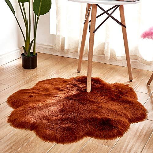 Goyoo coperte di zona stile moderno tappeti tappeto shaggy soft touch qualità di spessore mucchio di denso 60mm tappetini forma di fiore camera da letto soggiorno,brown