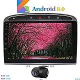 Hi-azul Android 8.0 In-Dash 9 Zoll Autoradio RAM 4G ROM 32G Car Radio 8-Core GPS Autonavigation Kopfeinheit Car Stereo mit 2.5D Gebogene Anzeige für Peugeot 308 (2008-2010) (mit DVR)