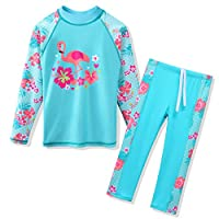 TFJH E Swimsuits for Girls Long Sleeve 2-Pieces Kids Sun Protection Beachwear Sunsuits 10-11y,Cyan Swan 14A