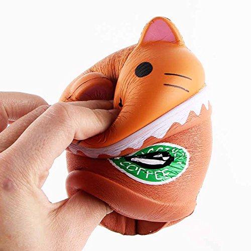 elzeug, Langsam Squeeze Steigende Niedliche Jumbo Scream Duft langsam Rising Cute Drücken Stress Relief Toy für Kids (5.5*3.5*2'' Brown-Katzenkopfkaffee) (Niedliche Halloween Ideen Für Teens)