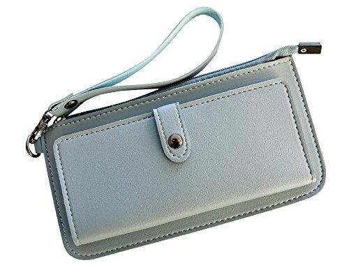 Donna Portafoglio Lungo Borsa Grandi Capacità Slim Wallet Con Chiusura A Bottone Verde Scuro Blu