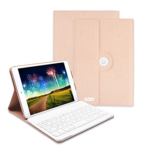 iPad mini Bluetooth Tastatur, COO Schutzhülle-Tastatur für Apple iPad mini 4, 3in1 Tastatur gilt für IOS, Android, windows System, auch Smart cover mit 360 Grad-Vollschutz und Multi-Angle Ständer (mini 4, Champagner) (Mini-ipad-hüllen Tastatur Mit)