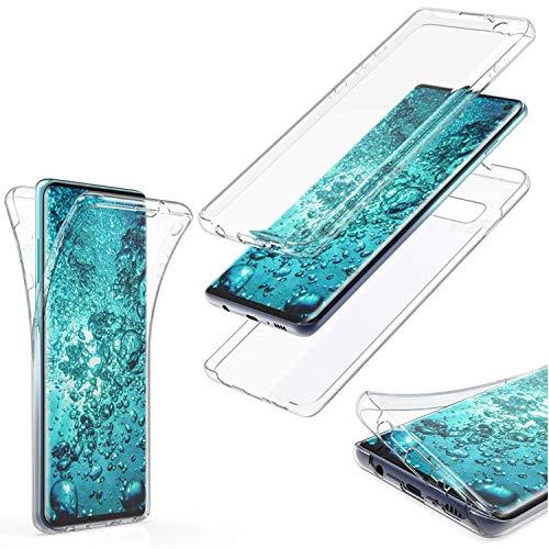 MOELECTRONIX Hülle für Huawei Y7 2018 Dual SIM LDN-L21 Komplettschutz 360 Grad TPU Silikon Tasche Full Cover Case Transparent