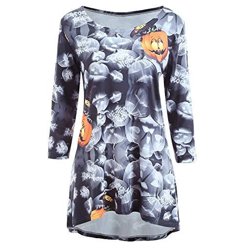 Halloween Kleider für Damen Langarm Kleid Maxikleider Blumenkleid Kürbis Drucken Strandkleid...