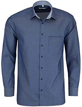MARVELIS Comfort Fit Hemd Langarm mit Besatz Muster dunkelblau