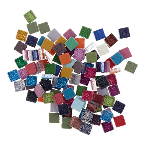 Bunte Mosaiksteine Bastelmosaik Glassteine Basteln Tischdeko Glas Mosaik Fliesen - Quadrat, 100 g ()