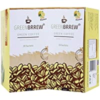 Greenbrrew Healthy Natural Lemon Instant Unroasted Coffee Beans Extract - Manages Blood Sugar Levels, Catalyst for weight Loss, Reduces Blood Pressure - each pack 60g (20 Sachets PP) - Pack of 2