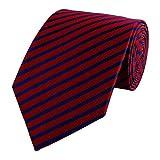 Gestreifte 8-CM Herren Krawatten von Fabio Farini, in verschiedenen Farben für alle Anlässe, Rot mit blauen Streifen