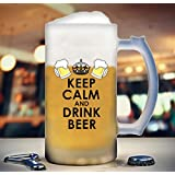 IKraft Funny Beer Mug - Keep Calm And Drink Beer - Thick 16oz Frosted Glass - Perfect Gift For Dad, Mom, Brother, Sister, Husband, Wife, Friends