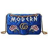 2018 neue Damen TaschePU-Leder-UmhängetascheFashion Velvet Cloth Bag Kette gesteppte Schultertasche Damen Umhängetasche (27x16x7cm, Stickerei blau)