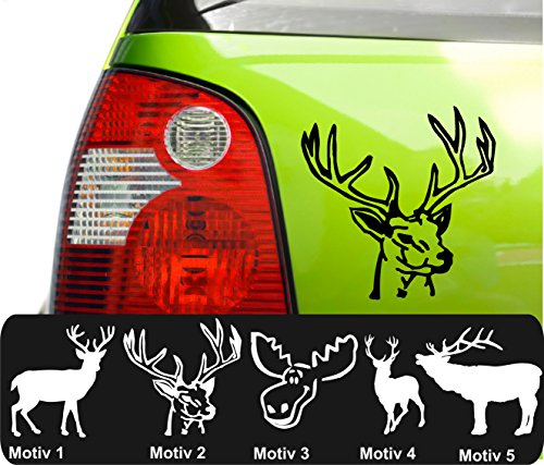 Elch Hirsch Aufkleber Elchaufkleber Hirschaufkleber Autoaufkleber Farb+Motivwahl ca 10cm in 33 Farben matt oder glänzend