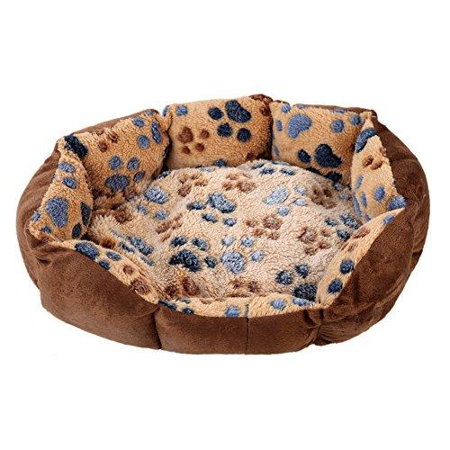 Haustierbett für Hunde und Katzen, warmes Fleece, Grau -
