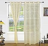 #9: Dekor World Beige Cotton Net Curtain Set (Pack of 2)