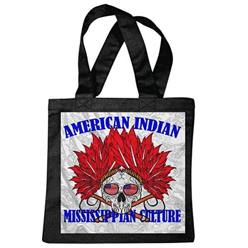 Tasche Umhängetasche American Indian USA Skull BIKERSHIRT Gothic Bike Club MC Motorcycle Chopper Custom Motorrad MOTORRADTREFFEN Club TREFFEN Einkaufstasche Schulbeutel Turnbeutel in Schwarz -