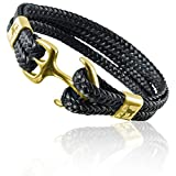 ETAVI® Anker-Armband in Schwarz aus Edelstahl Gold- Lederarmband für Männer für Herren mit Geschenkbox Schmuck …