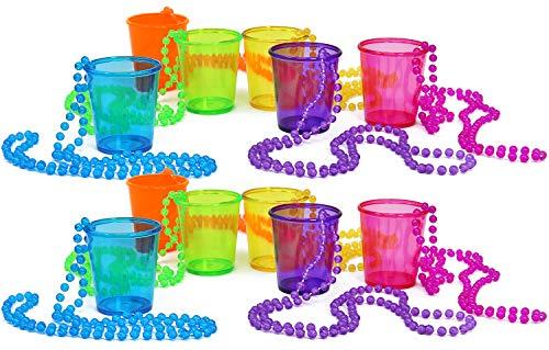 COM-FOUR® 12 Schnapsgläser mit Kette zum Umhängen in verschiedenen Farben [Farbauswahl variiert], 45 ml (4,5 cl) (12 Stück - bunt)