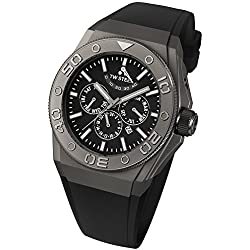 TW Steel CEO Diver Unisex Automatic Watch with Black Dial Chronograph Display and Black Silicone Strap CE5001