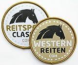 2er-Set Pferde Abzeichen gewebt 60 mm/Western-Reiten und Reitsport/Pferd Reiten REIT-Abzeichen/Aufnäher Aufbügler Flicken Sticker Bügelbild Patch/Western Cowboy Horseback REIT-Ausrüstung REIT-Stiefel