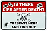 Is There Life After Death? Trespass Here And Find Out - Novelty Metal No Trespassing Sign