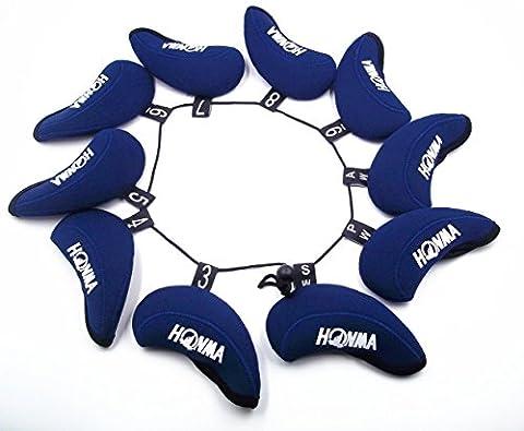 Lot/Set honma-iii de Golf Fer Couvre Nouveau Modèle–Livraison gratuite, Noir/Bleu