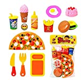 #9: HMC Plastic Kitchen/Restaurant Role Pretend Pizza Cutting Play Fast Food Set (Multicolour)