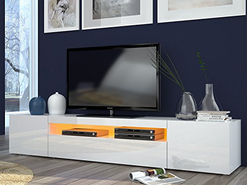 "TV-Lowboard Longboard Hifi Rack Unterschrank Tisch ""Daiquiri II"" (Weiß-Hochglanz)"