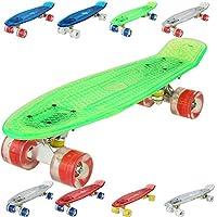 FastDirect Skateboard Mini Planche à roulettes Roues Lumineuses LED, Couleur au Choix, Panneau Transparent, Spéciale pour Les Enfants