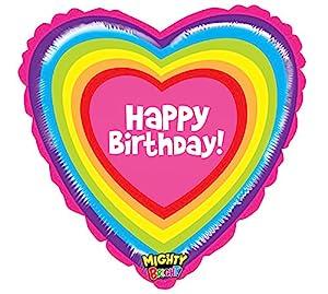 Betali 14342WE-P Globo Forma de corazón para Feliz cumpleaños con Arco Iris, Paquete Individual, Longitud de 21 Pulgadas, Color, Talla única