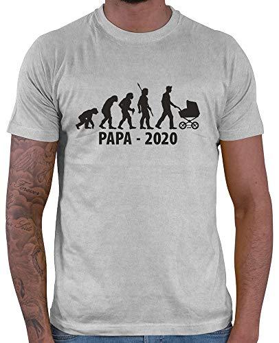 HARIZ  Herren T-Shirt Papa 2020 Evolution Männer Geschenk Vatertag Geschenkideen Plus Geschenkkarten Hell Grau 3XL