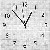 Wallario Glas-Uhr Echtglas Wanduhr Motivuhr • in Premium-Qualität • Größe: 30x30cm • Motiv: Fliesen im Bad weiß-grau