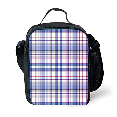 ZKHTO School Supplies Checkered,Country Inspired Old Fashioned Pattern Picnic Theme Light Colors,Violet Blue White Pink for Girls or Boys Washable Violett Double Old Fashioned