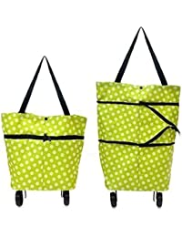 LDG Ware Lightweight Shopping Folding Travel Bag Trolley Foldable Wheel Oxford Cloth Use Short and Long(Color and Design May Very)