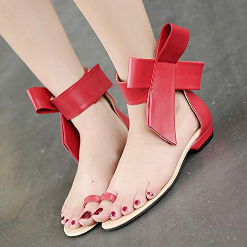 Oasap Women's Ankle Bow Flat Thong Sandals red