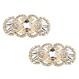 Elegantpark BG 2 Pcs clip di scarpe Antique Mask Design Strass Sposa Partito Decorazione Oro