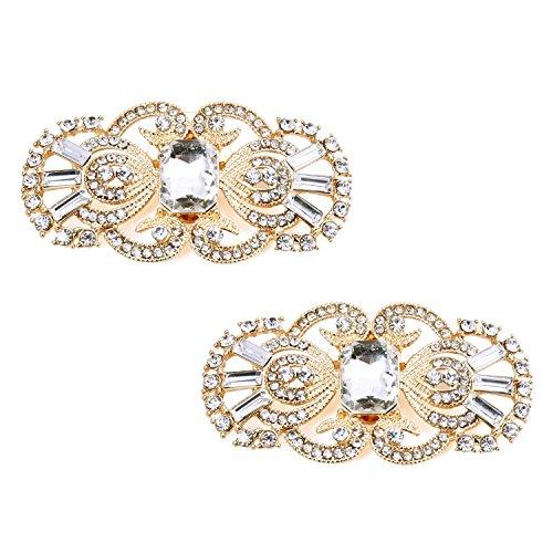 ElegantPark 2 Stück Schuhclips Antike Schablonen Entwurfsrhinestones Hochzeitsfest Accessiories Gold