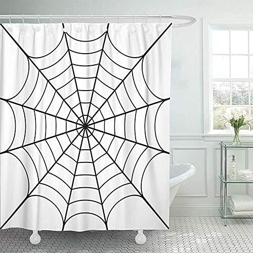 Duschvorhang Bath Curtain, Shower Curtain Polyester Black Spider of Cobweb White Spiderweb Halloween Net Haloween Network Tattoo Bug Mildew Resistant Waterproof Adjustable ()