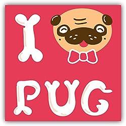 Pegatina de Vinilo I Love Pug de Vinilo