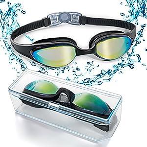 Gafas de natación con puente flexible de punta suave y de espejos coloreados, libre de fugas. Protección contra la niebla, y los rayos UV. Gafas de natación de triatlón para hombres, adultos, mujeres, jóvenes y niños. VERSIÓN ACTUALIZADA 2018