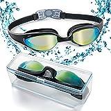 Gafas de natación con puente flexible de punta suave y de espejos coloreados, libre de fugas....