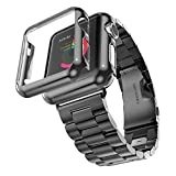 Fucool Apple Watch Band,Stainless Steel 3 Points Strap Bracelet Wrist Band with Protective Case Cover for iWatch Apple Watch (42mm, Black)