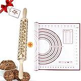 a ray of sunshine 3D Nudelholz Weihnachte,Teigrolle Nudelholz,Holz Teigroller,3D Nudelholz mit Muster,PräGerolle Holz Weihnachten,Backzubehör für Weihnachten,Prägerolle Holz Weihnachten,Holz PräGung