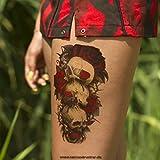 1 x Rote Rosen + Totenkopf Körpertattoo - Buntes XL Temporäres Tattoo HB418 (1)