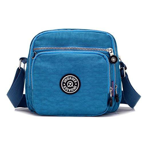 Tiny Chou - Borsa Messenger leggera e impermeabile, in nylon, con tasche Blu (Blu Oceano)